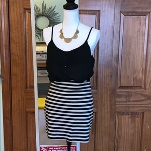 L Silence and Noise Polyester Striped Zip Skirt